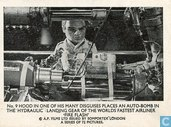 Hood in one of his many disguises places an auto-bomb in the hydraulic landing gear of the world's fastest airliner 'Fire Flash'.