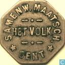 """België 1 broodpenning """"Het Volk, Gent"""" (oud lettertype)"""