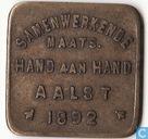 """België 1 broodkaart 1892 """"Samenwerkende maatschappij Hand aan Hand Aalst"""""""