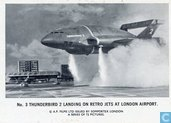 Thunderbird 2 landing on retro jets at London Aiport.