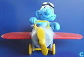 Smurf in airplane