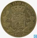 Belgien 20 Centime 1853 (L•W• mit Punkte)