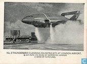 Thunderbird 2 landing on retro jets at London Aiport.