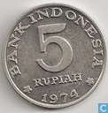 "Indonesia 5 rupiah 1974 ""F.A.O. - Family Planning"""