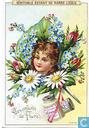 Flora's Kinder Mädchenköpfe im Blumenbukett