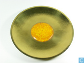 brass plate with amber inlay