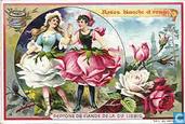 BLOEMEN en vrouwen paar IN MEDAILLON