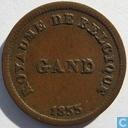 België 1 centime 1833 Monnaie Fictive, Gent