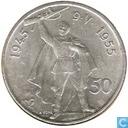 "Monnaies - Tchécoslovaquie - Tchéco-Slovaquie 50 korun 1955 ""10 years - Independence"""