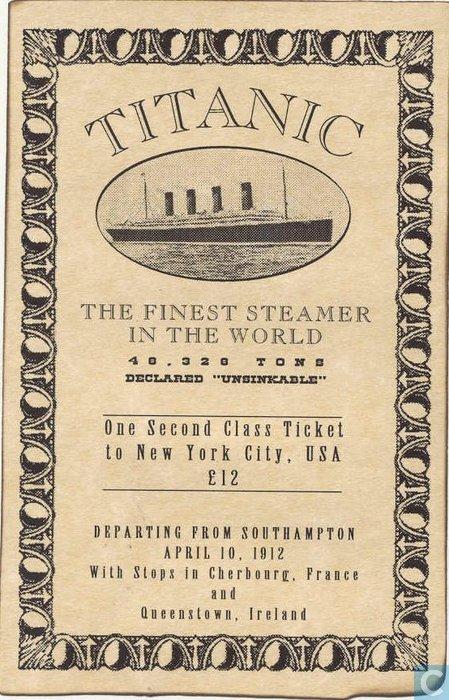 Titanic Second Class Ticket Southampton New York City