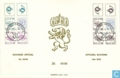 Digit on heraldic lion and King Baudouin