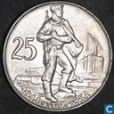 "Tsjecho-Slowakije 25 korun 1954 ""10th Anniversary - Slovak Uprising"""