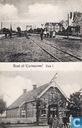 Spoor, spoorbrug, dorpsgezicht met personen