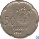 """Spain 50 pesetas 1990 """"Juan Carlos"""""""