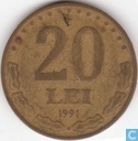 Roumanie 20 lei 1991