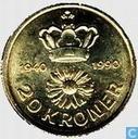 """Denmark 20 kroner 1990 """"50th Anniversary Queen Margrethe II"""