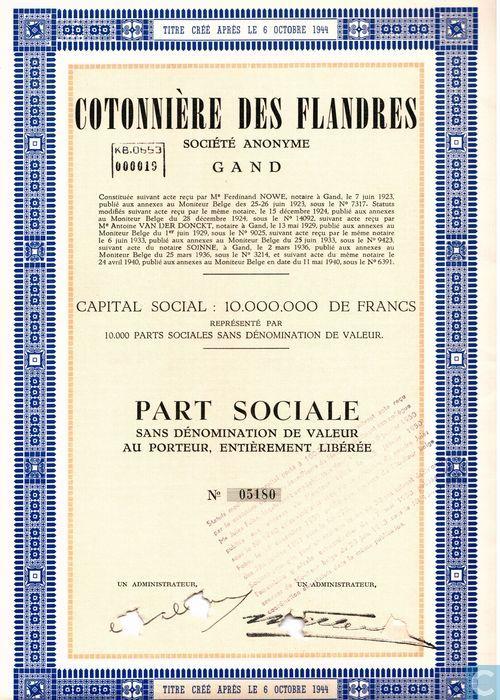 Cotonniere des flandres part sociale cotonniere des flandres catawiki - Liste des magasins promenade des flandres ...