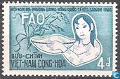 Vietnameese met schaal rijst