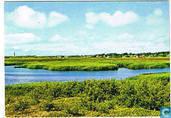 Groeten van het eiland Schiermonnikoog - Westerplas met gezicht op het dorp