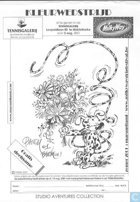 Gratis Kleurplaten Marsupilami.Kleurwedstrijd Stripfestival Middelkerke Catawiki