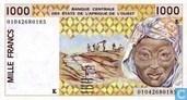 Stat Afr de l'Ouest. 1000 Francs K