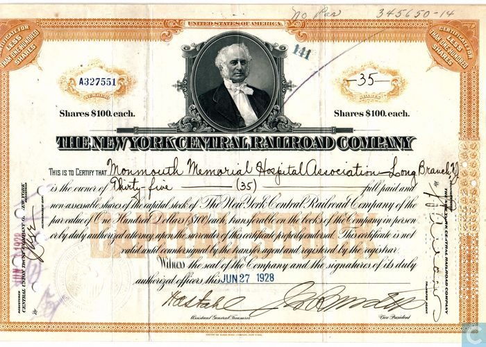 New York Central Railroad original stock certificate Vanderbilt collectible