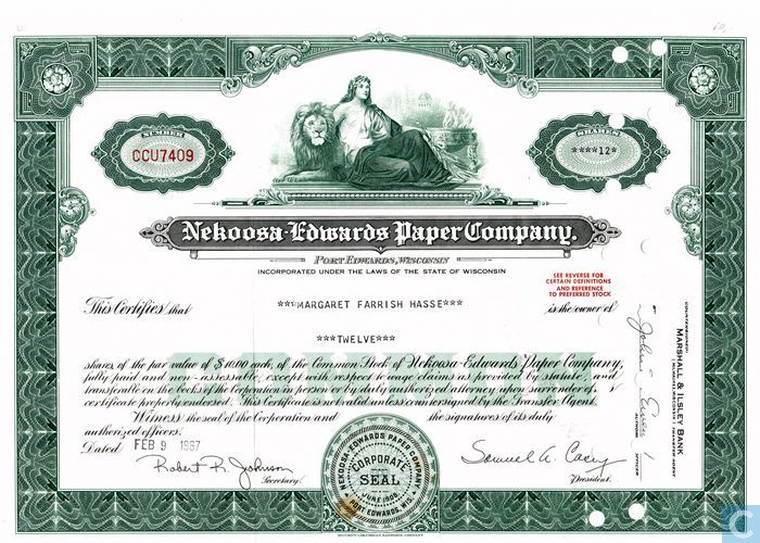Nekoosa Edwards Paper Company Share Certificate Common Stock