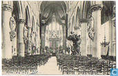 Mechelen - Binnenzicht der Metropoliteine kerk van St-Rombout, na de voorloopige herstelling der schade veroorzaakt door de beschieting in Augusti en september 1914