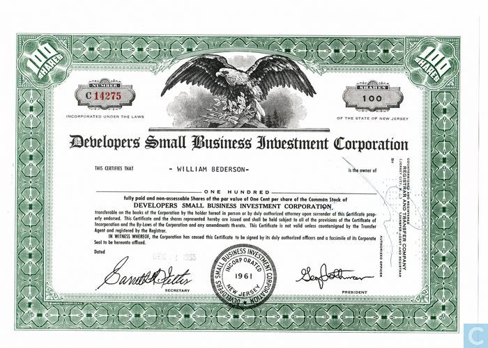 Developers Small Business Investment Corporation