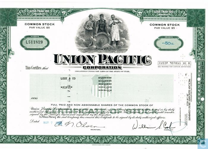Union Pacific Corporation (UPC), Certificate for less than