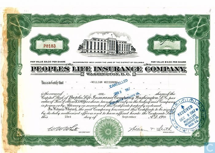 Peoples Life Insurance Company, Share certificate, Capital stock ...