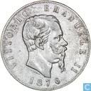 Italië 5 lire 1876 R