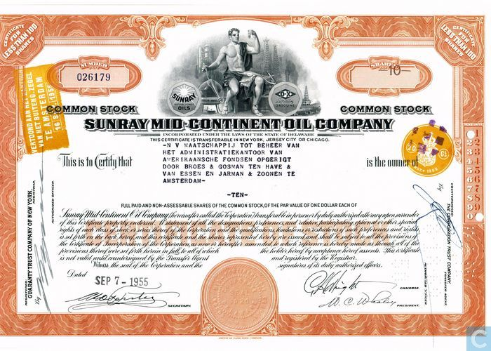 Sunray Mid-continental Oil Company, Certificate for less