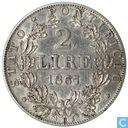 États pontificaux 2 lires 1867 R